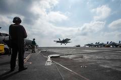 In this file photo, an F/A-18E Super Hornet assigned to VFA-151 lands on USS John C. Stennis' (CVN 74) flight deck. (U.S. Navy/MCSN Tomas Compian)
