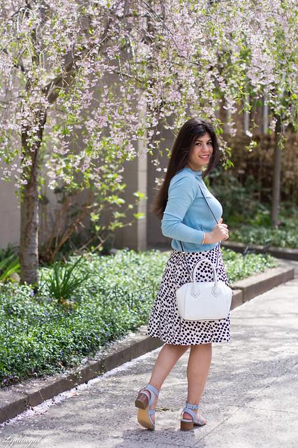 blue sweater, polka dot skirt, blue sandals-9.jpg