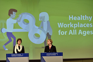 15/04/2016 - 11:40 - Joint press conference by Marianne THYSSEN, Member of the EC in charge of Employment, Social Affairs, Skills and Labour Mobility and Christa SEDLATSCHEK, Director of the European Agency for Safety and Health at Work (EU-OSHA) at the European Commission Headquarters in Brussels, Belgium, April 15, 2016.