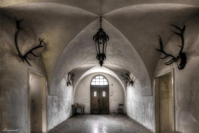 abandoned hunting lodge