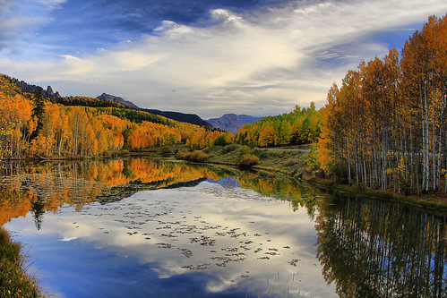 autumn sky lake fall clouds golden san colorado juan rico aspen cushman skyway relections