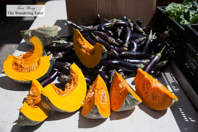 Fresh pumpkins and eggplants at Farmer Clarence's stand