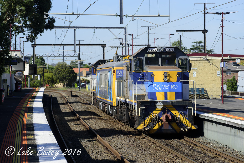 T373-IEV102-T376 with #7405 down infrastructure evaluation run to Frankston at Patterson by Luke's Rail Gallery