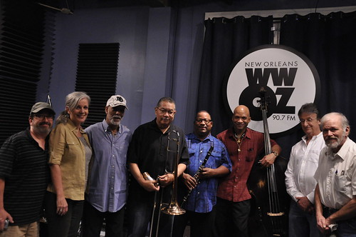 Ron Phillips and Sally Young (far left) with Frank Oxley and the Joint Chiefs of Jazz: Frank Oxley, Lester Caliste, Louis Ford, Kerry Lewis, Steve Pistorius, Jamie Wight. Photo by Leona Strassberg Steiner