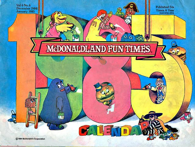 1985 Calendar.Mcdonaldland Fun Times 1985 Calendar Cover 1985 Flickr