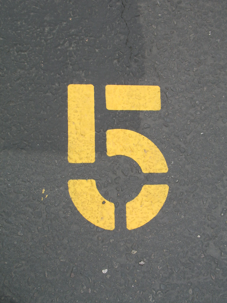 5 | My lucky number 5, as seen in a parking lot in Napa  | Flickr