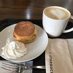 スタバで朝食〜 バターミルクビスケットにラテ うまうま♪(´ε` ) #starbucks #coffee #espresso #latte #Biscuits #スターバックス #スタバ #コーヒー #エスプレッソ #ラテ #ビスケット
