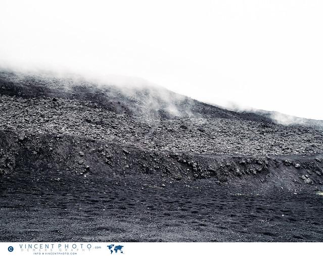 Smocky landscape on Pacaya Volcano in Guatemala.