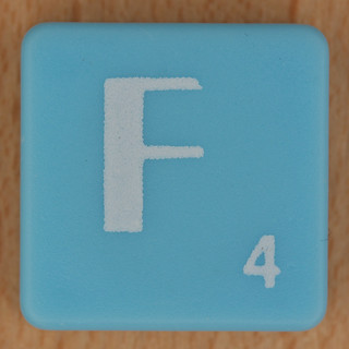 Scrabble white letter on pale blue F | by Leo Reynolds