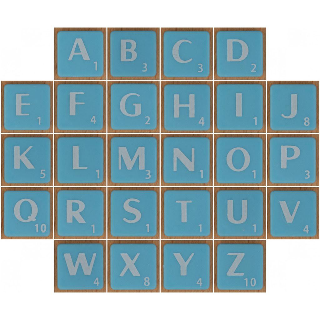 Scrabble white letter on pale blue alphabet