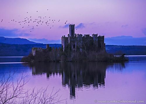 ireland sunset reflection castles reflections landscape landscapes sunsets loughkey
