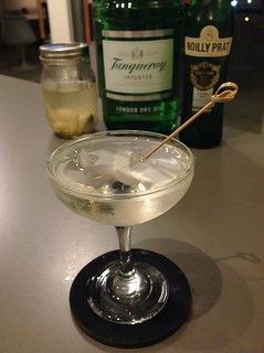 Gibson variation with Tanqueray London dry gin, Noilly Prat extra dry vermouth, pickled fennel #cocktail #cocktails #craftcocktails #gin #tanqueray | by *FrogPrincesse*