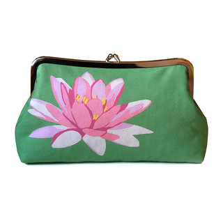 Waterlily clutch purse on green
