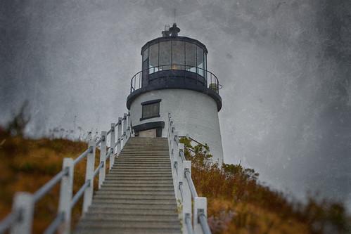 ocean light coastguard lighthouse history station fog stairs coast marine head maine nostalgic owls steep oldfashioned owlshead