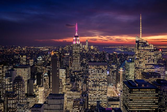Purple night over New York