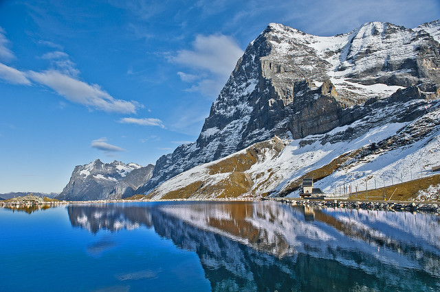 The Mighty Eiger and the Wetterhorn reflected on The Fallbodensee . No. 1411.