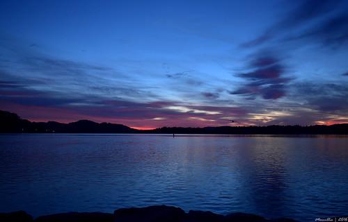 blue sea sky mountains water sunrise reflections dawn bay nikon scenery waterfront silhouettes australia views nsw daybreak brisbanewater woywoy seaviews d5500 nswcentralcoast centralcoastnsw