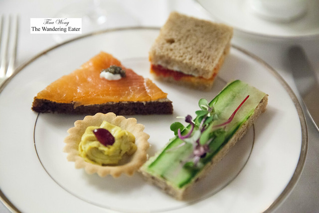 Tea sandwiches - Scottish smoked salmon, cucumber, sundried tomato and roasted pepper, curry chicken