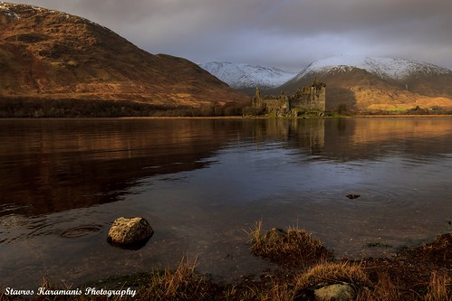 old sunset lake snow mountains castle water canon landscape scotland afternoon ngc tokina mountainside dslr f28 t3i lakescapes kilchurncastle canonphotography 1116mm dxii
