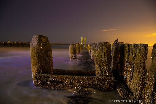 ocean wood light sea beach wall night painting photography coast virginia long exposure atlantic spencer hampton pillars bawden buckroe spazoto