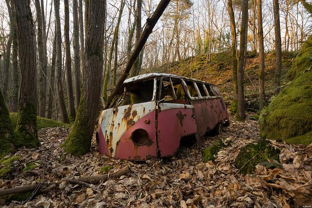 Rusty and wood, abandoned Van Volkswagen.