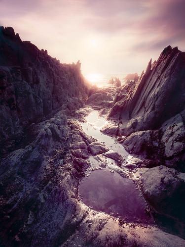 morning sunrise rocks wideangle panasonic ultrawide hdr looe rockpool hannafore gx7 olympus918mmf4056