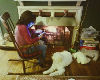 Fine Fireside Fireplace Fire Rocking Chair Dog Woman Phone Text Inzonedesignstudio Interior Chair Design Inzonedesignstudiocom