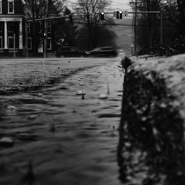 Rain splashing in the gutter