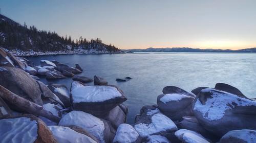 longexposure winter sunset sky lake snow water wow rocks outdoor dusk nevada laketahoe clear shore serene hdr vistapoint inclinevillage ndfilter photomatix fav200 1xp nex6 selp1650