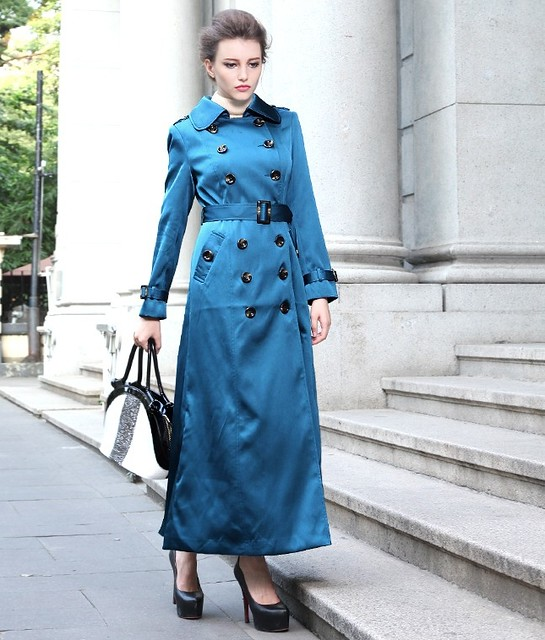 shiny blue Maxi Trench Coat