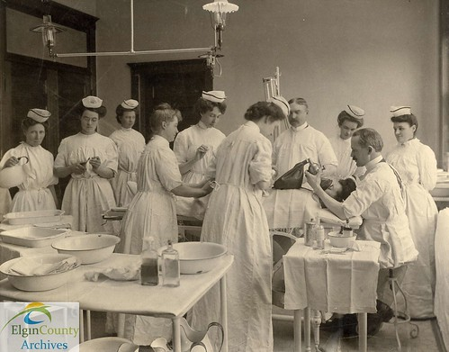 Amasa Wood Hospital, St. Thomas - Surgical Team and Operating Room, ca. 1905 | by Elgin County Archives