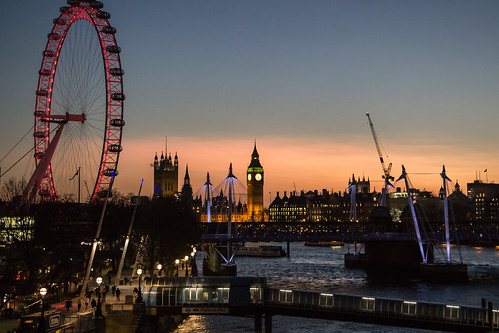 city uk sunset england london thames londoneye bigben southbank highiso jubileebridge waterloobridge matthewbiddle