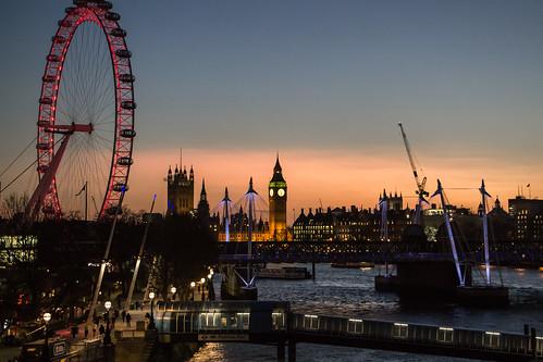 city uk sunset england london thames londoneye bigben southbank highiso jubileebridge waterloobridge matthewbiddle
