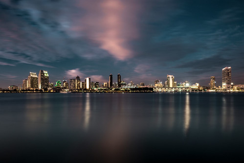 california sky usa color colour reflection water skyline lights evening bay cityscape sandiego 2015 fujixe2