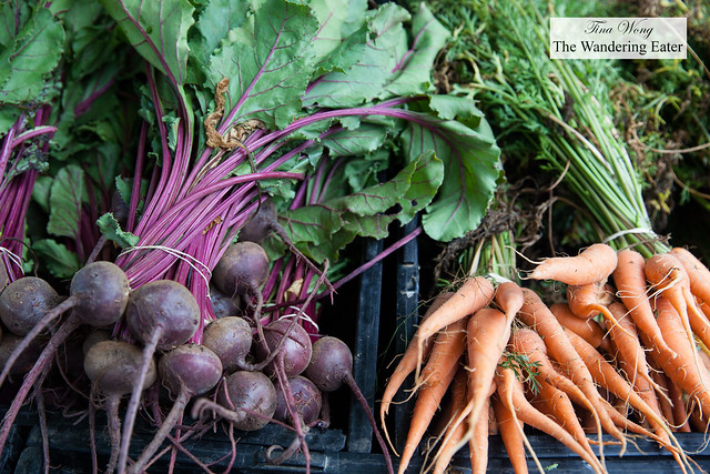 Fresh beets and carrots from a local farm