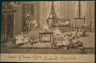 Vintage Christmas Krampus Postcard with St. Nicholas in window | by riptheskull