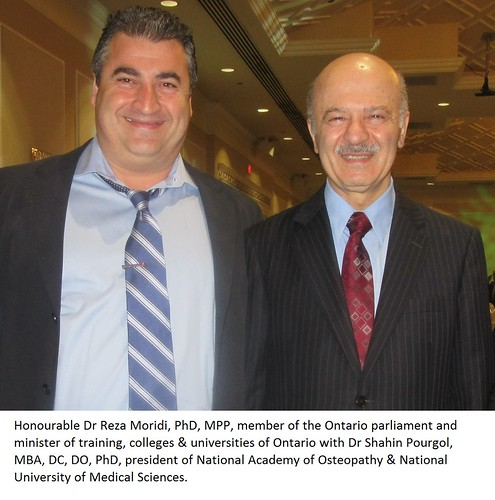 Dr Reza Moridi, Ontario Minister with Dr Shahin Pourgol