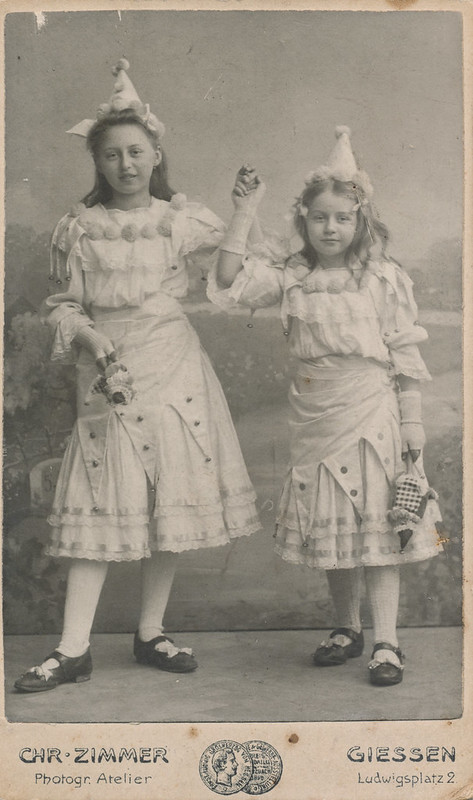 Two girls in carnival costumes