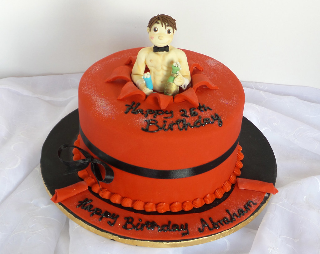 Excellent Sexy Shirtless Guy Fondant Topper Jumping Out Of Birthday Flickr Personalised Birthday Cards Bromeletsinfo