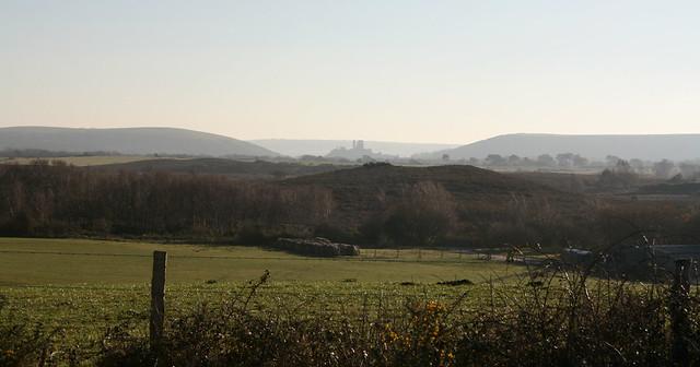 Corfe Castle from Stoborough Heath