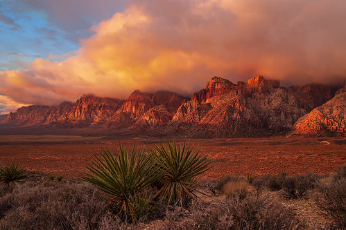 southwest nature clouds sunrise desert nevada scenic partlycloudy