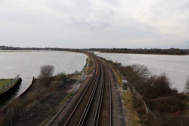 The railway crossing Holes Bay
