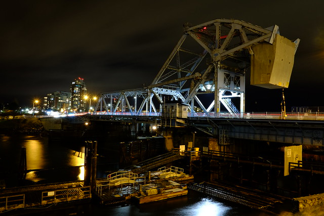 Johnson Street Bridge at night. Victoria, British Columbia, Canada.
