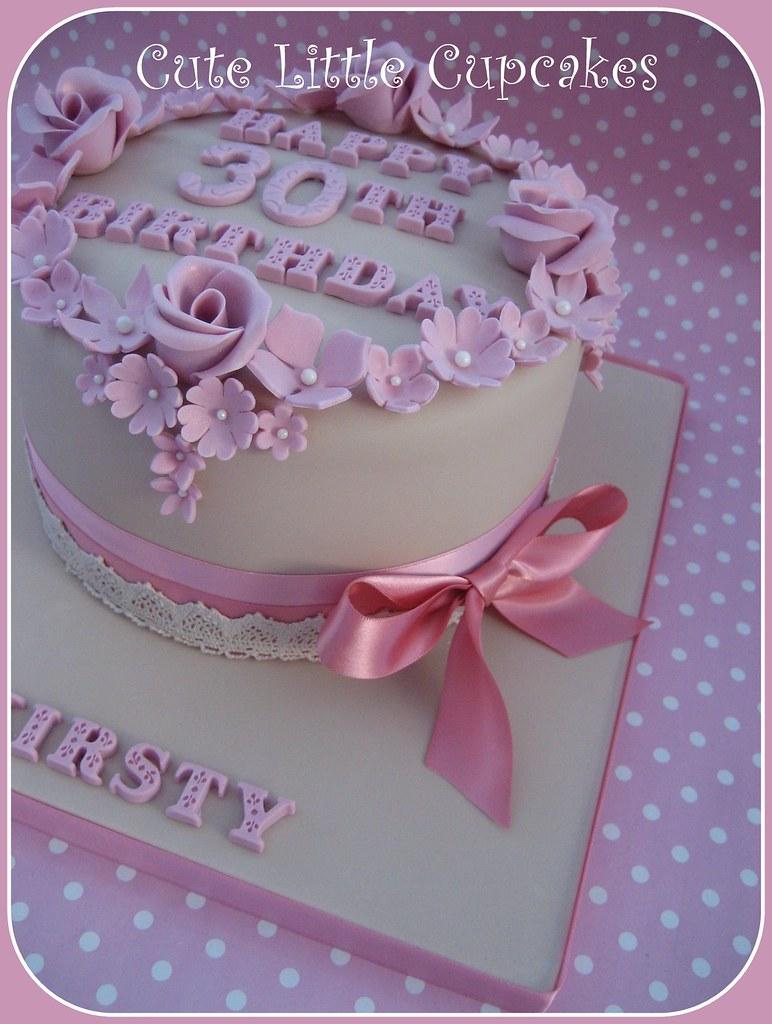 Outstanding Shabby Chic 30Th Birthday Cake Heidi Stone Flickr Personalised Birthday Cards Vishlily Jamesorg
