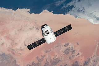 SpaceX Dragon over Desert Approaches ISS | by NASA Johnson