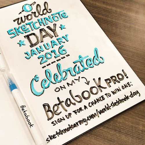 Celebrating World Sketchnote Day w/ my @betabook Pro! You can have a chance to win one - sign up at http://sketchnotearmy.com/world-sketchnote-day/ #SNDay2016
