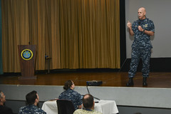 Adm. Scott Swift, commander of U.S. Pacific Fleet, delivers opening remarks during the Fleet Cybersecurity Waterfront Training Symposium at Joint Base Pearl Harbor. (U.S. Navy/MC2 Tamara Vaughn)