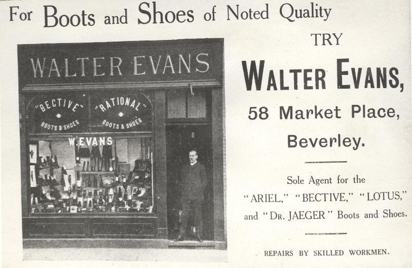 Walter Evans' shop, Market Place, Beverley 1918 (archive ref PO-1-14-220)