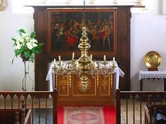 candelabra, altar and reredos
