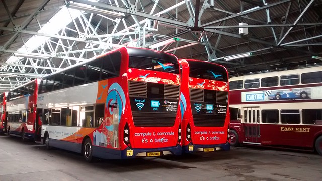 The new buses at Thanet garage.